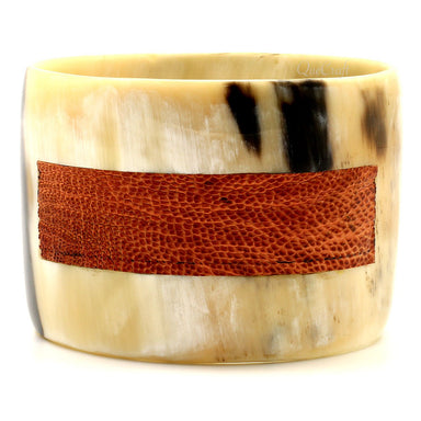 Horn & Leather Bangle Bracelet #8718 - HORN.JEWELRY