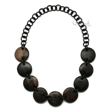 Ebony & Horn Chain Necklace #11881 - HORN.JEWELRY