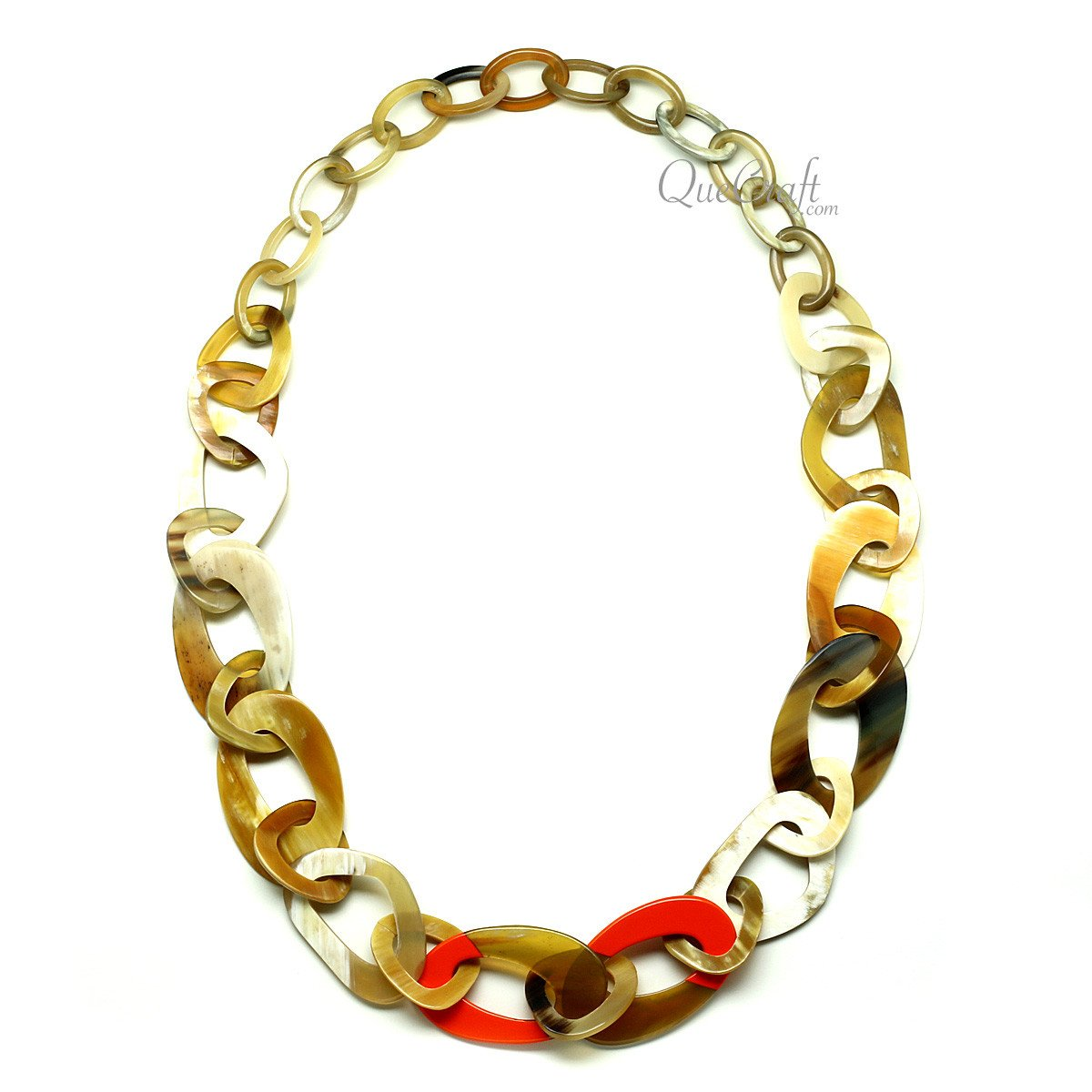 Horn & Lacquer Chain Necklace #10273 - HORN.JEWELRY by QueCraft
