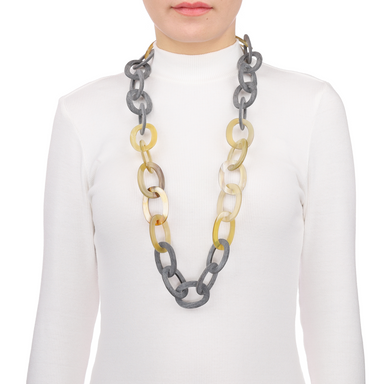 Horn Chain Necklace #11647 - HORN.JEWELRY by QueCraft