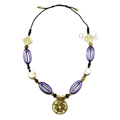 Horn & Lacquer String Necklace - Q12106
