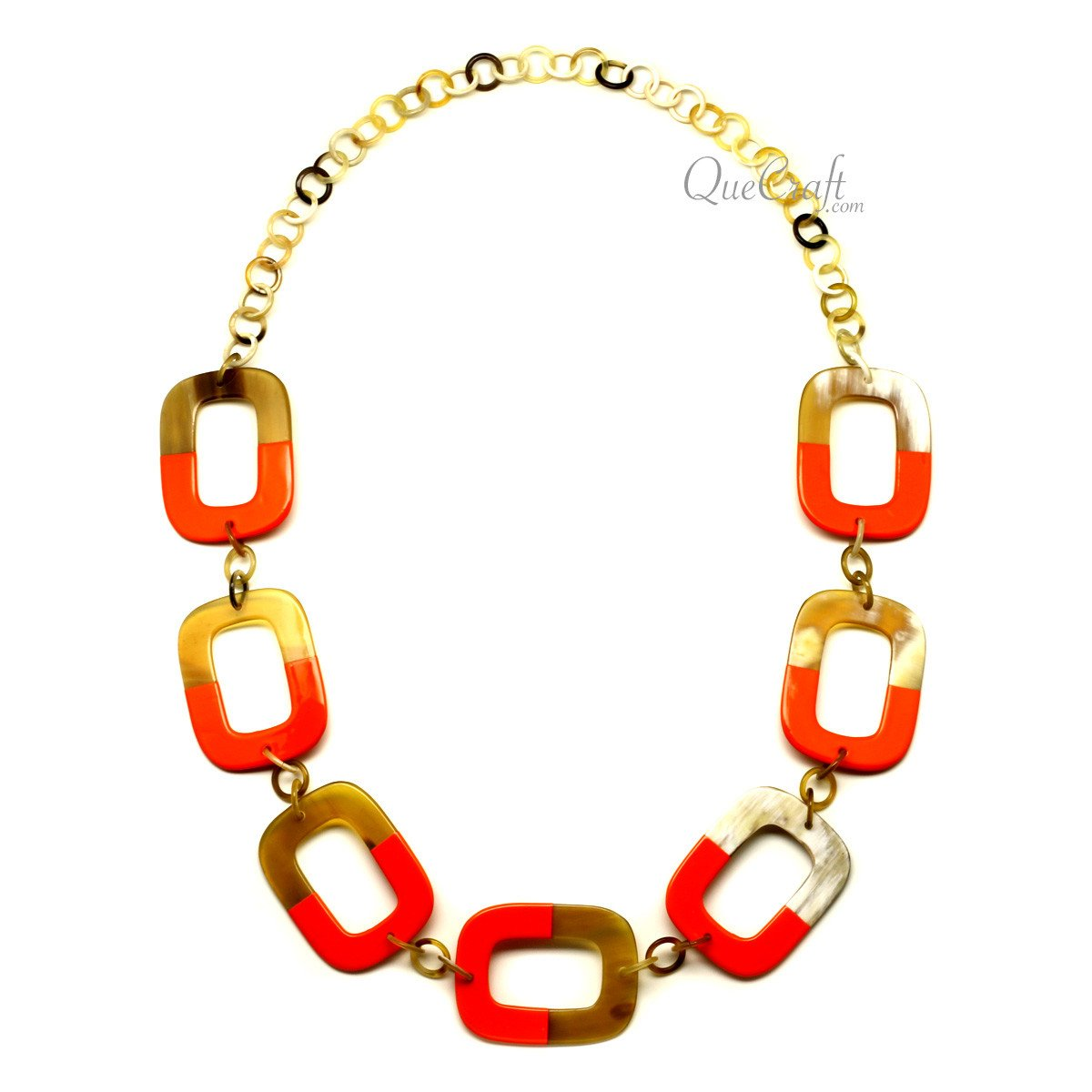 Horn & Lacquer Chain Necklace #12190 - HORN.JEWELRY