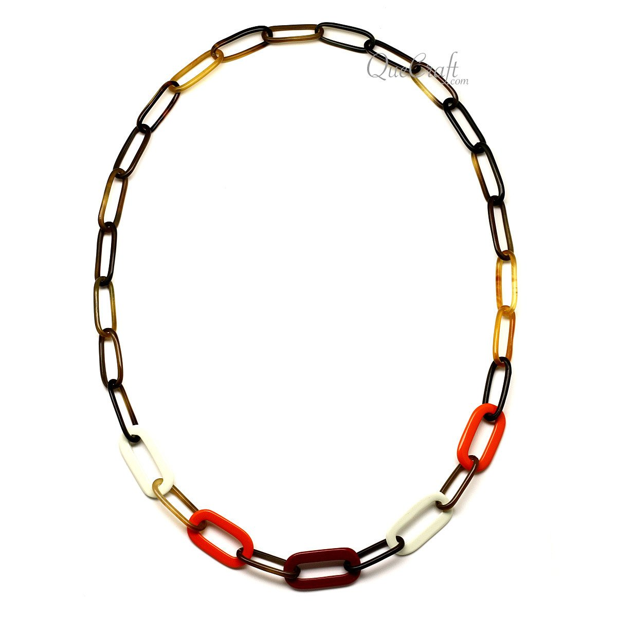 Horn & Lacquer Chain Necklace #12635 - HORN.JEWELRY by QueCraft