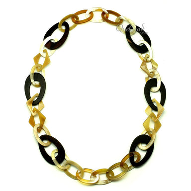 Ebony & Horn Chain Necklace #12804 - HORN.JEWELRY by QueCraft