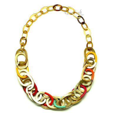 Horn & Lacquer Chain Necklace #12805 - HORN.JEWELRY