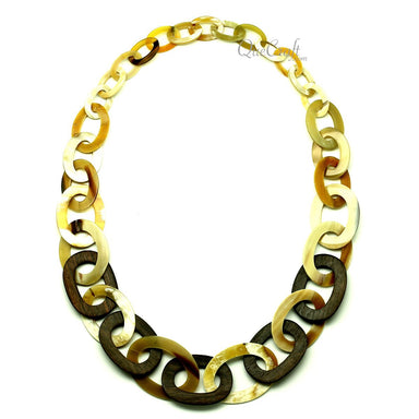 Ebony & Horn Chain Necklace #12807 - HORN.JEWELRY
