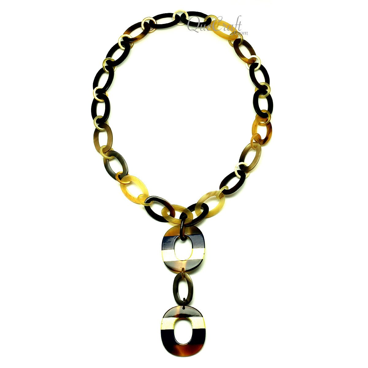 Horn & Lacquer Chain Necklace #12815 - HORN.JEWELRY by QueCraft