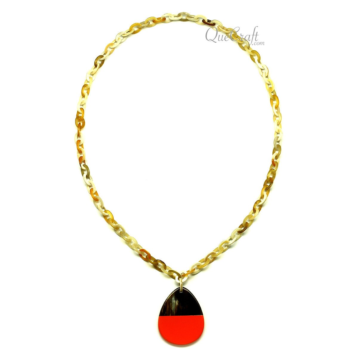 Horn & Lacquer Chain Necklace #12841 - HORN.JEWELRY
