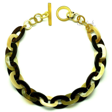 Ebony & Horn Chain Necklace #12900 - HORN.JEWELRY
