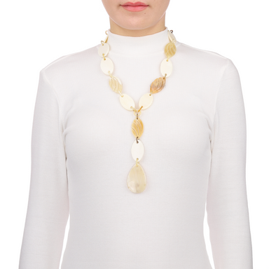 Bone & Horn Chain Necklace #12943 - HORN.JEWELRY