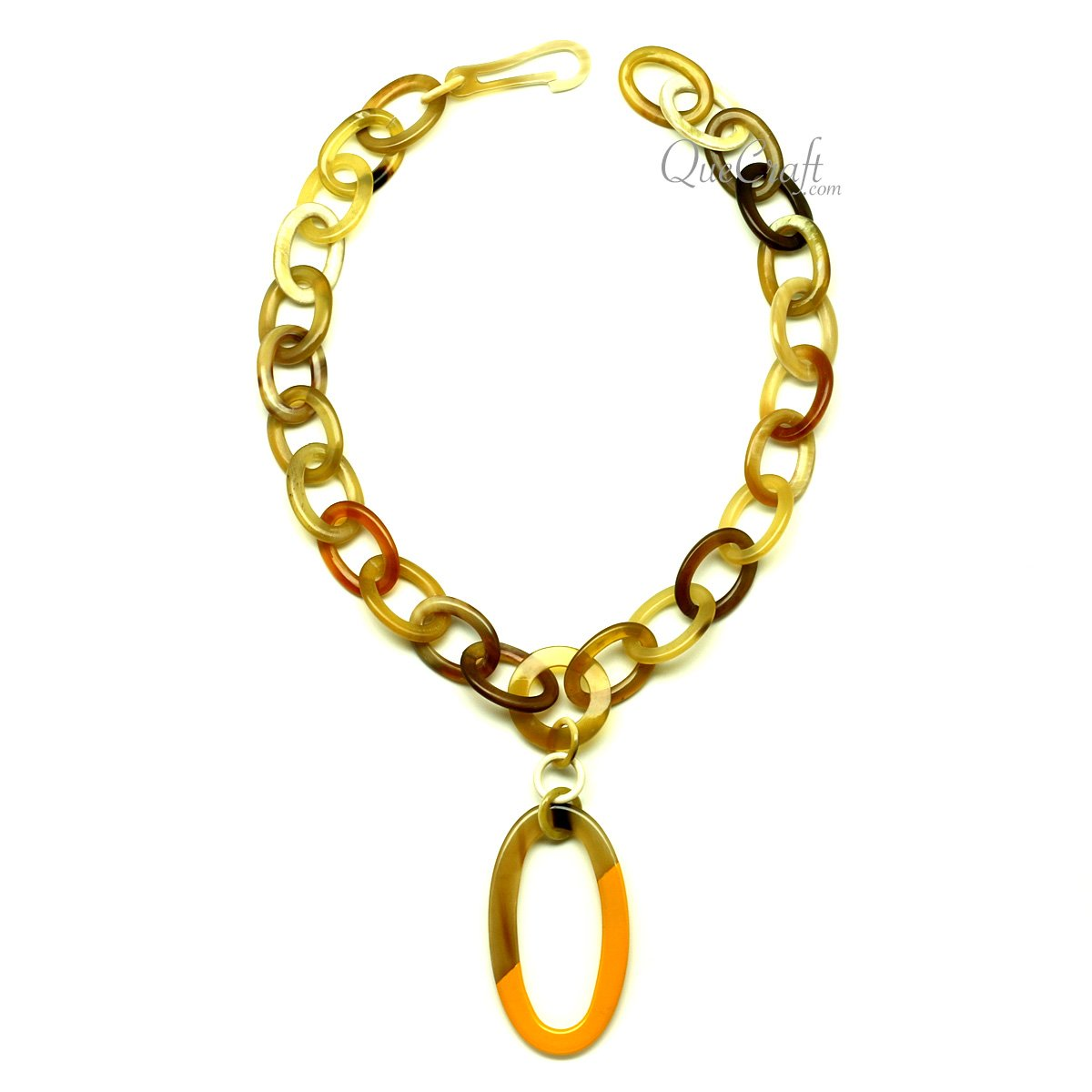 Horn & Lacquer Chain Necklace #13059 - HORN.JEWELRY