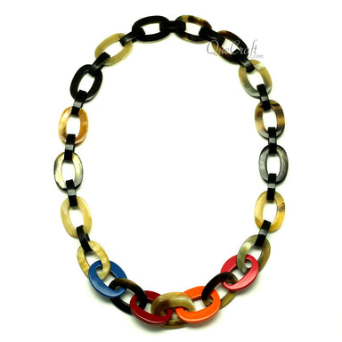 Horn & Lacquer Chain Necklace #13065 - HORN.JEWELRY