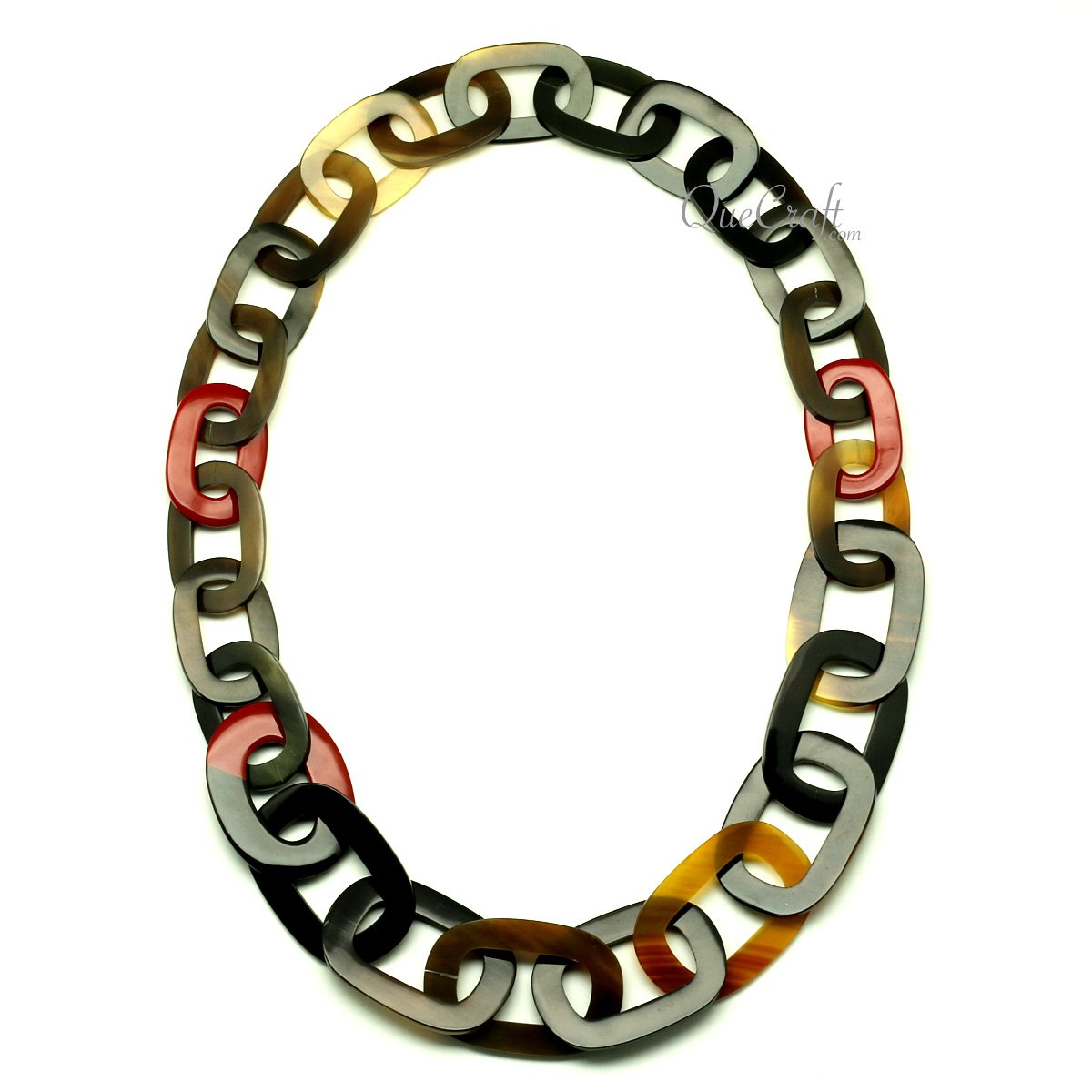 Horn & Lacquer Chain Necklace #13066 - HORN.JEWELRY by QueCraft