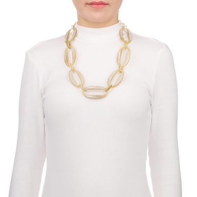 Horn Chain Necklace #13523 - HORN.JEWELRY by QueCraft