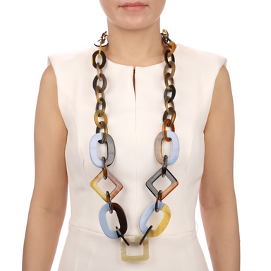 Horn & Lacquer Chain Necklace #13545 - HORN.JEWELRY