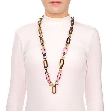 Horn & Lacquer Chain Necklace #13622 - HORN.JEWELRY