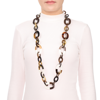 Horn & Lacquer Chain Necklace #13623 - HORN.JEWELRY