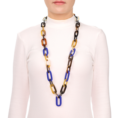Horn & Lacquer Chain Necklace #13629 - HORN.JEWELRY