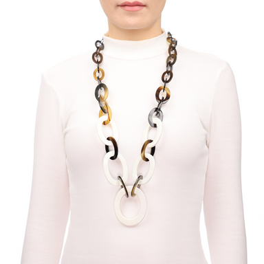 Horn & Lacquer Chain Necklace #13660 - HORN.JEWELRY