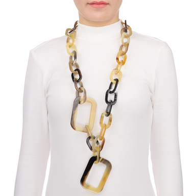 Horn Chain Necklace #9819 - HORN.JEWELRY by QueCraft