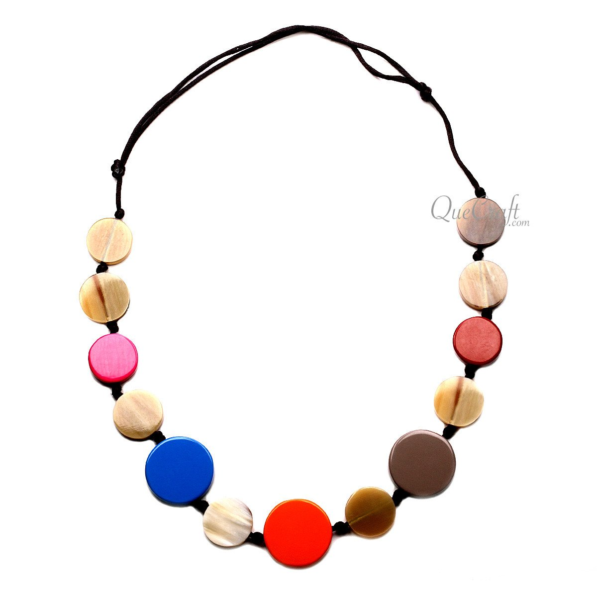 Horn & Lacquer String Necklace #12698 - HORN.JEWELRY by QueCraft