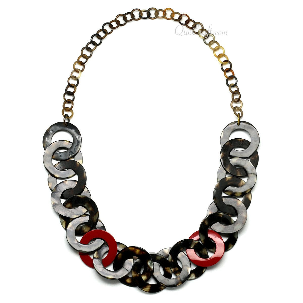 Horn & Lacquer Chain Necklace #11279 - HORN.JEWELRY by QueCraft