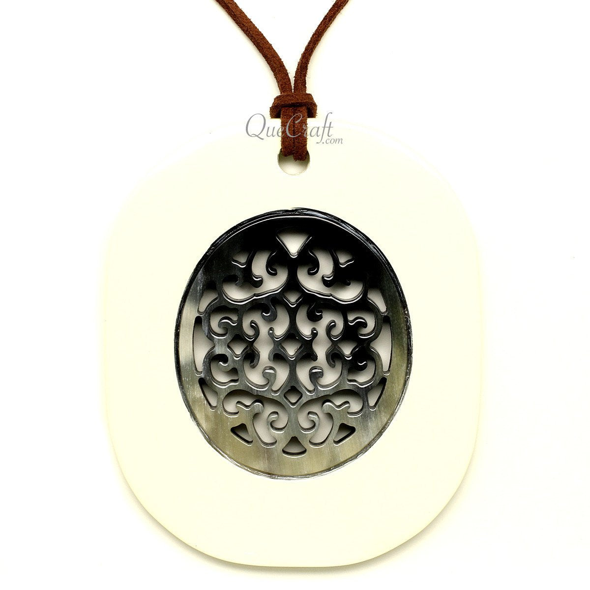 Horn & Lacquer Pendant #12258 - HORN.JEWELRY by QueCraft