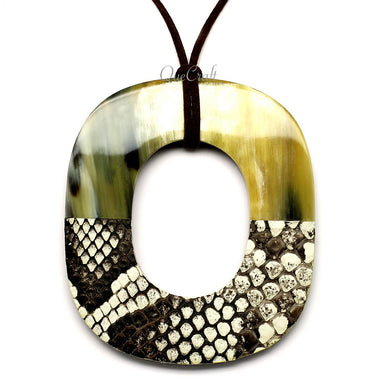 Horn & Leather Pendant #12499 - HORN.JEWELRY