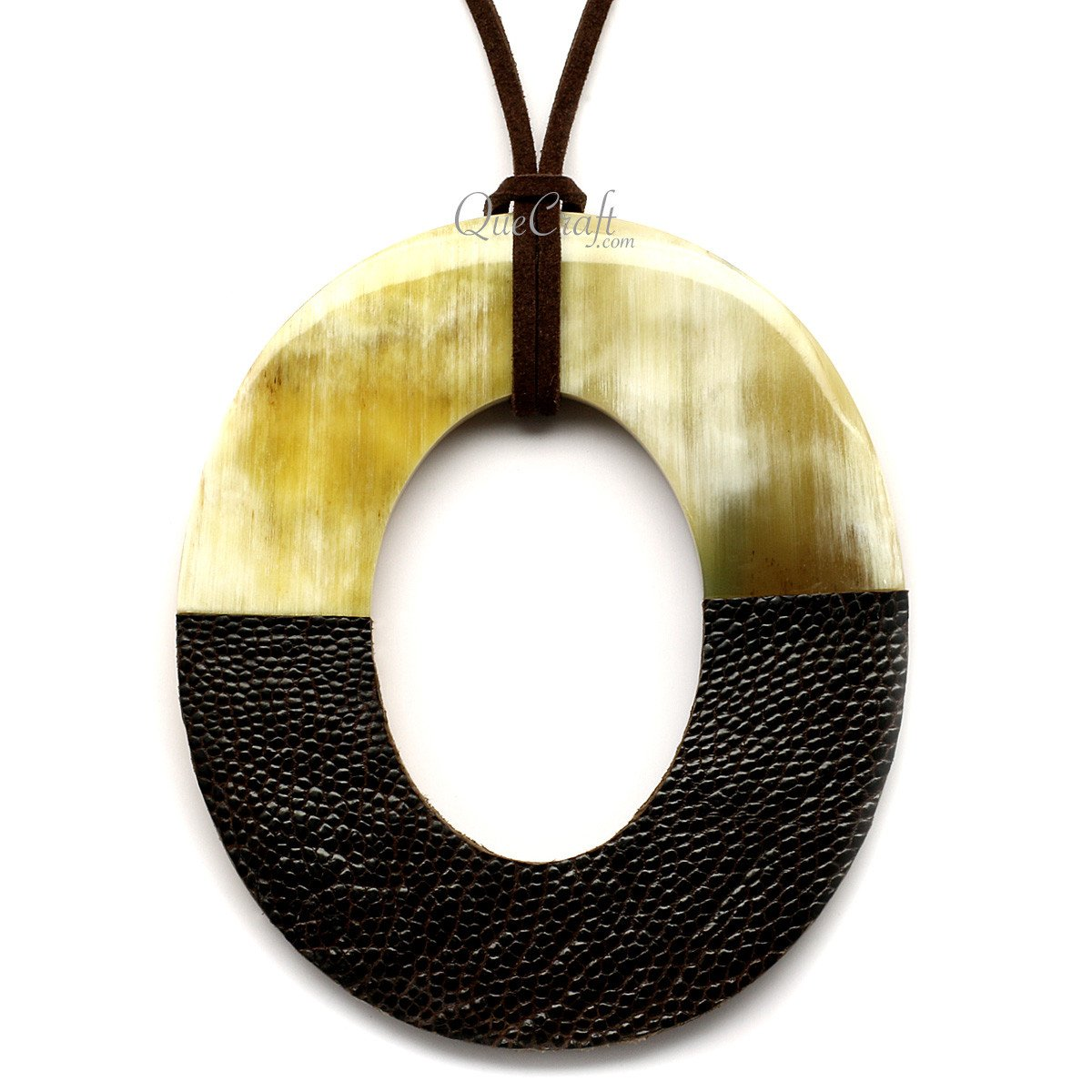 Horn & Leather Pendant #12504 - HORN.JEWELRY