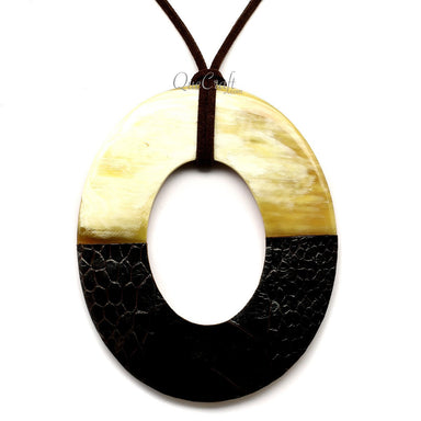 Horn & Leather Pendant #12505 - HORN.JEWELRY