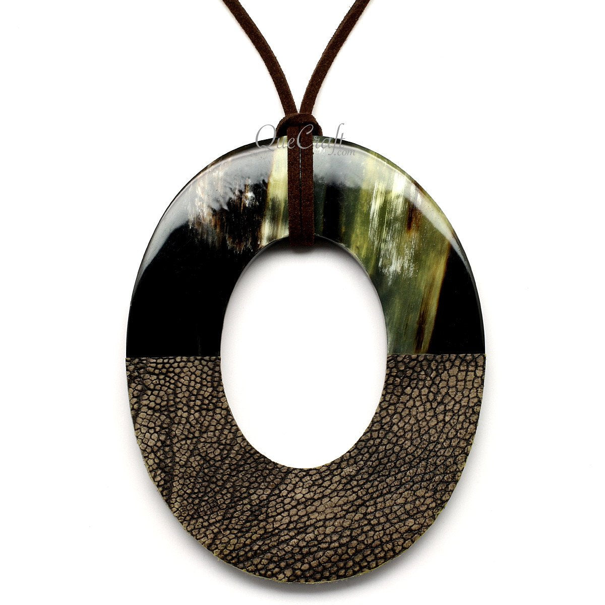 Horn & Leather Pendant #12506 - HORN.JEWELRY