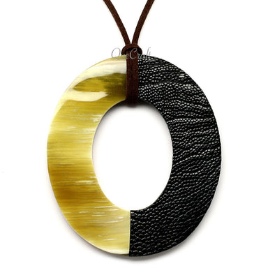 Horn & Leather Pendant #12510 - HORN.JEWELRY by QueCraft
