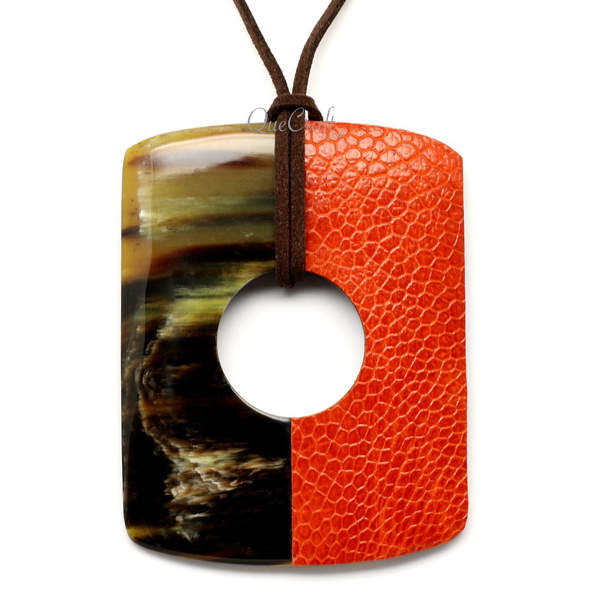 Horn & Leather Pendant #12517 - HORN.JEWELRY