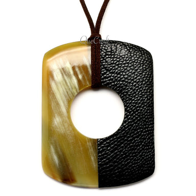 Horn & Leather Pendant #12518 - HORN.JEWELRY by QueCraft