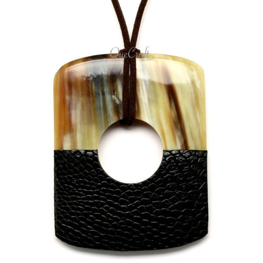 Horn & Leather Pendant #12521 - HORN.JEWELRY
