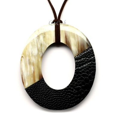Horn & Leather Pendant #12531 - HORN.JEWELRY