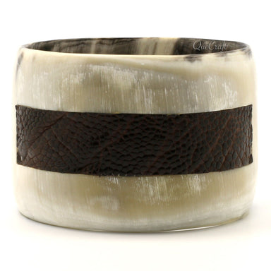 Horn & Leather Bangle Bracelet  #9443 - HORN.JEWELRY