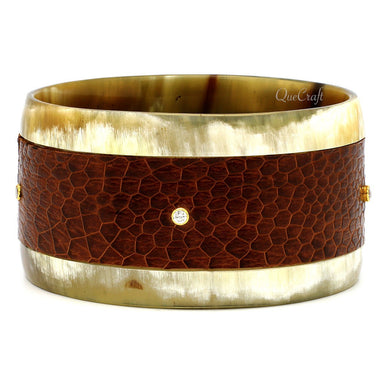 Horn, Leather & CZ Bangle Bracelet - Q9408