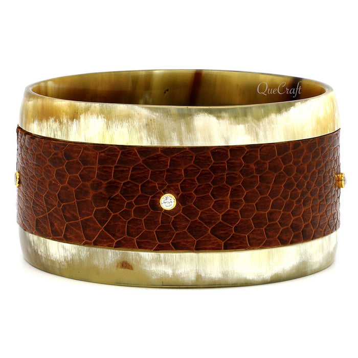 Horn, Leather & CZ Bangle Bracelet #9408 - HORN.JEWELRY