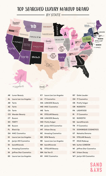 Map of Top Searched Luxury Makeup Brand by State