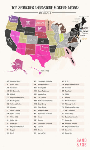 Map of Top Search Drugstore Makeup Brand by State