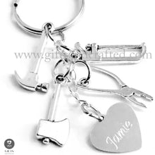 Load image into Gallery viewer, tool kit keyring with tools and personalised heart charm