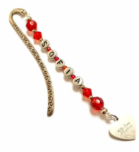Handmade Personalised Bookmark with Engraved Charm