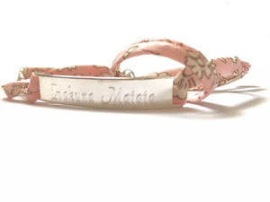 Handmade Personalised Engraved 925 Sterling Silver & Liberty of London Fabric Wrap Bracelet