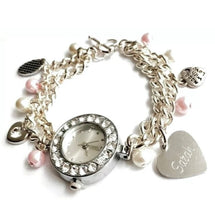 Load image into Gallery viewer, Handmade, Engraved Personalised Jewellery Charm Bracelet Watch