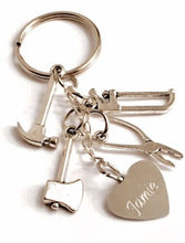 Load image into Gallery viewer, Handmade Tool Kit Keyring/Bag Charm with Choice of Personalised Charm