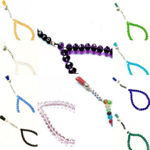 Handmade Personalised 33 Crystal Beads Tasbeeh/Prayer Beads. Ramadhan/Eid/Umrah/Hajj Gift.