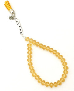 Handmade Personalised 33 Crystal gold/yellow Beads Tasbeeh/Prayer Beads. Ramadhan/Eid/Umrah/Hajj Gift.