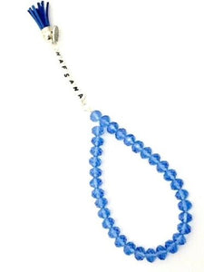 Handmade Personalised 33 blue Crystal Beads Tasbeeh/Prayer Beads. Ramadhan/Eid/Umrah/Hajj Gift.