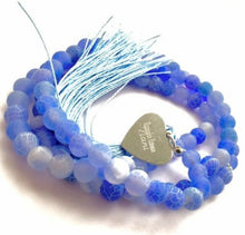 Load image into Gallery viewer, Handmade Personalised Engraved Frosted Crackle Agate Gemstone Tasbeeh